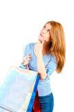 Portret piękna kobieta z zakupami rozpamiętywa Zdjęcia Stock