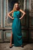 Portret piękna kobiety zieleni toga. obraz stock