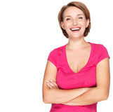 Portret piękna młoda dorosła biała szczęśliwa kobieta Fotografia Royalty Free