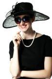 Portret piękna młoda kobieta w retro stylu w eleganckim obrazy royalty free