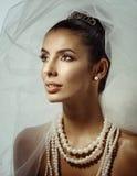 Portret piękna panna młoda na dniu ślubu Obraz Royalty Free