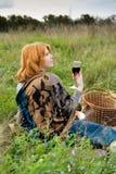 Portret piękna redhair dziewczyna w jesień parku. Obraz Royalty Free