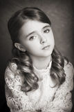 Portret pięknej nastoletniej dziewczyny czarny i biały fotografia Zdjęcie Stock
