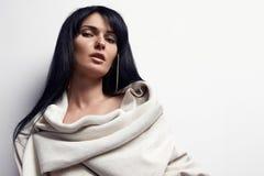Portret piękno kobieta z prostym czarni włosy fotografia royalty free