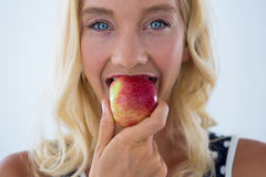Portret piękny kobiety łasowania czerwieni jabłko Zdjęcie Stock