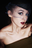 Portret piękny retro styl Obraz Royalty Free