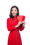 Portret piękna Azjatycka kobieta na tradycyjnym festiwalu koszcie Zdjęcia Royalty Free
