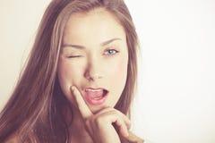 Portret Piękna brunetki kobieta Zdjęcia Stock