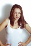 Portret Piękna brunetki kobieta Fotografia Royalty Free