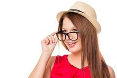 Portret piękna dziewczyna z mod akcesoriami Obraz Stock