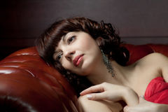 portret piękna marzycielska kobieta Zdjęcia Stock