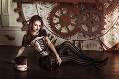 Portret piękna steampunk kobieta Zdjęcie Stock