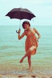Portret piękny model z parasolem Fotografia Royalty Free