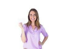 Portret piękny przypadkowy bizneswoman pokazuje znaka Zdjęcie Stock