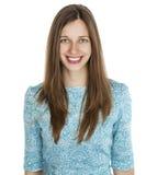 Portret piękna młoda kobieta w turkusowej sukni na whit Fotografia Stock