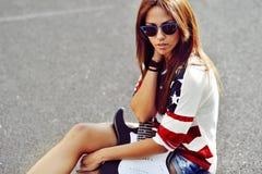 Portret plenerowy piękna brunetka Zdjęcie Royalty Free
