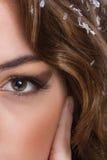 Portret połówka twarzy urocza kobieta, oczy w przedpolu Obraz Stock