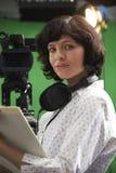 Portret Podłogowy kierownik W Telewizyjnym studiu zdjęcie stock