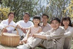 Portret pokoleniowa rodzina ma pinkin i cieszy się parka w wiośnie zdjęcia stock