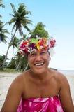 Portret Polinezyjskiej Pacyficznej wyspy tahitanki dojrzała kobieta Aitu Obraz Stock