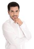 Portret pomyślny atrakcyjny biznesmen odizolowywający na bielu. fotografia royalty free