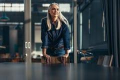 Portret pomyślny starszy bizneswoman obraz stock