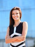 Portret pomyślny biznesowej kobiety ono uśmiecha się Obraz Royalty Free