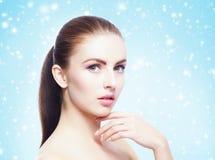Portret potomstw, pięknej i zdrowej kobieta: nad zima plecy Obrazy Stock