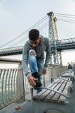 Portret potomstwa, murzyn wzdłuż NYC ` s Wschodni Rzeczny Williams Fotografia Stock