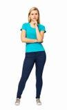 Portret Poważna kobieta Z ręką Na podbródku Zdjęcia Stock