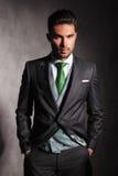 Portret poważny elegancki mężczyzna w smokingu Zdjęcie Royalty Free