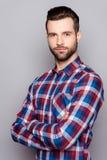 Portret poważny młody freelancer w w kratkę koszula s semi fotografia stock