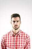 Portret poważny gniewny obrażający brodaty mężczyzna Obraz Royalty Free