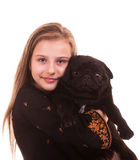 Portret pretty young girl with dog on a white background Royalty Free Stock Images