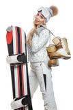 Portret projektujący profesjonalisty model z snowboard Obraz Stock