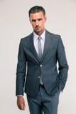 Portret przystojny biznesmen w kostiumu obraz stock