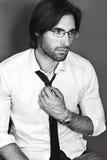 Portret przystojny biznesowy bankowiec w eyeglasses i krawacie Obraz Stock