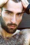 Portret przystojny męski facet z kroplą woda na а fac Obrazy Stock