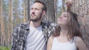 Portret przystojny młody człowiek i ładna kobieta patrzeje daleko od, wskazuje z palcami w w górę sosnowej lasowej jedności z zbiory
