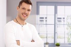 Portret przystojny młody człowiek okno Obrazy Stock