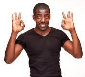 Portret przystojny młody czarnego afrykanina ono uśmiecha się Obrazy Royalty Free