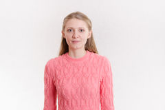 Portret pusta Europejska dziewczyna na lekkim tle Obraz Stock