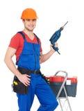 Portret ręczny pracownik z narzędziami obraz royalty free