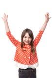 Portret radosna mała dziewczynka z rękami podnosić Zdjęcia Stock