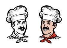 Portret radosny szef kuchni lub piekarz, logo Etykietka lub ikona dla projekta menu kawiarni lub restauraci również zwrócić corel ilustracji