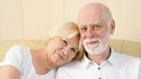 Portret rozochocony atrakcyjny starszy pary obsiadanie na kanapie w domu Mieć dobry czasu relaksować zbiory