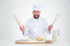 Portret rozochocony męski szefa kuchni kucharza pieczenie Obrazy Stock