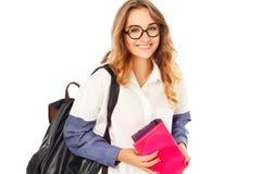 Portret rozważna dziewczyna jest ubranym szkło ucznia ładnego hol Zdjęcia Royalty Free