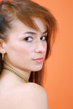 portret ruda poważna Zdjęcia Stock