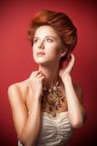 Portret rudzielec edwardian kobiety Fotografia Stock
